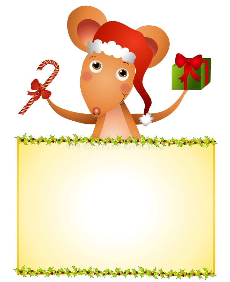 Santa Mouse Xmas Sign. A clip art illustration featuring a cartoon mouse wearing Santa hat & holding Christmas present and candy cane with a holly decorated stock illustration