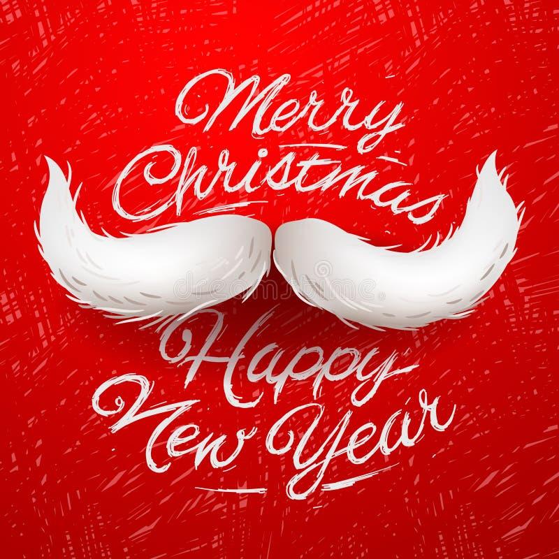 Santa moustache, Merry Christmas card royalty free illustration
