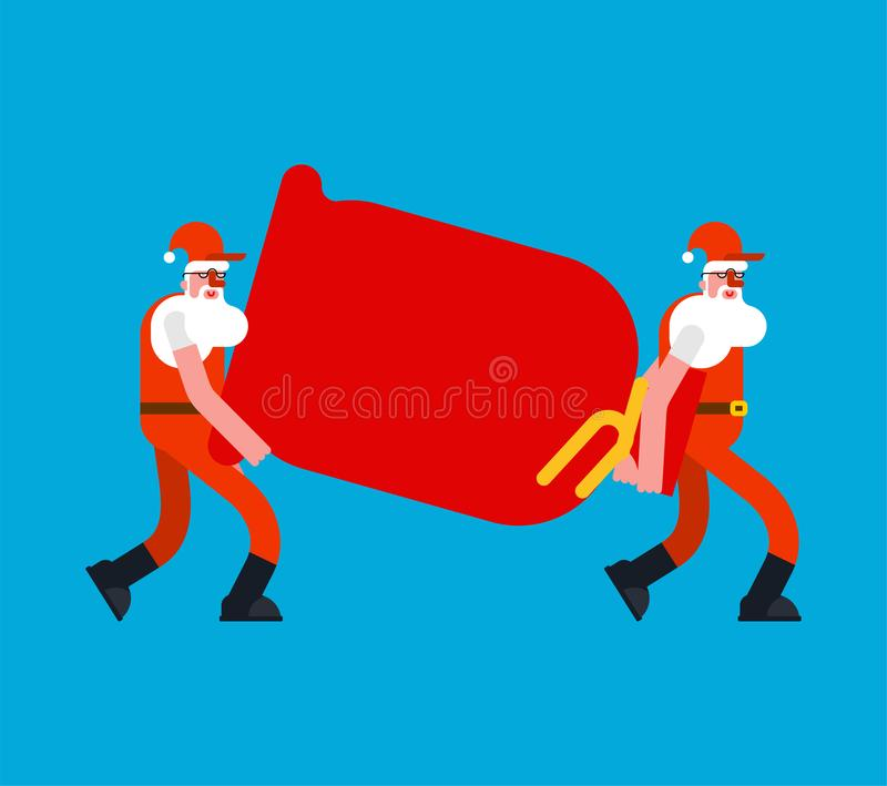 Santa Movers carry red bag. Claus Porters man and sack. Grandfather Loader mover man bagful. New Year and Xmas Vector illustration vector illustration