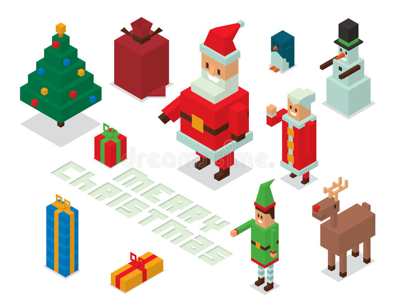 Santa, mrs Claus, helpers family isometric 3d. Santa Claus, Missis Claus, helpers family isometric 3d icons vector illustration royalty free illustration