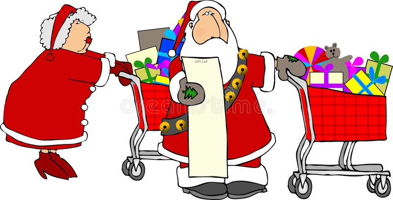 Santa & Mrs Claus shopping vector illustration