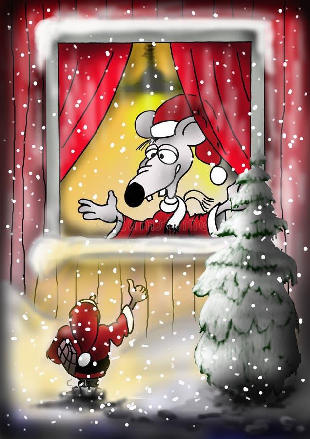 Santa myszy okno zdjęcie royalty free