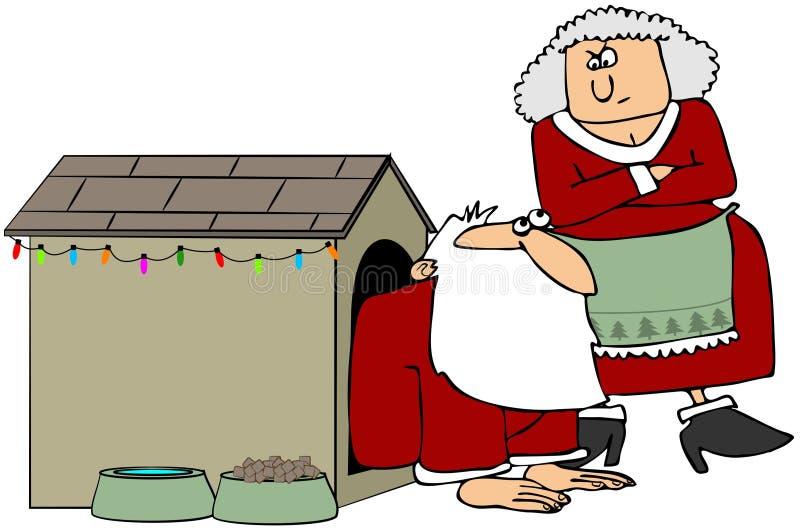Santa na casa de cão ilustração do vetor