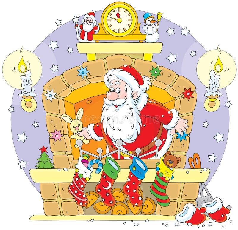 Santa na chaminé ilustração stock