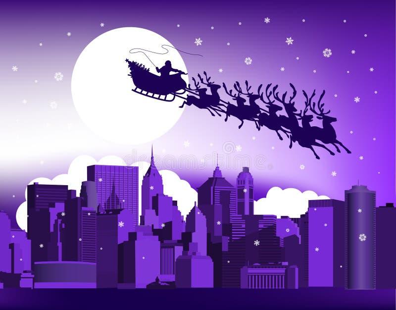 Santa na cidade. ilustração stock