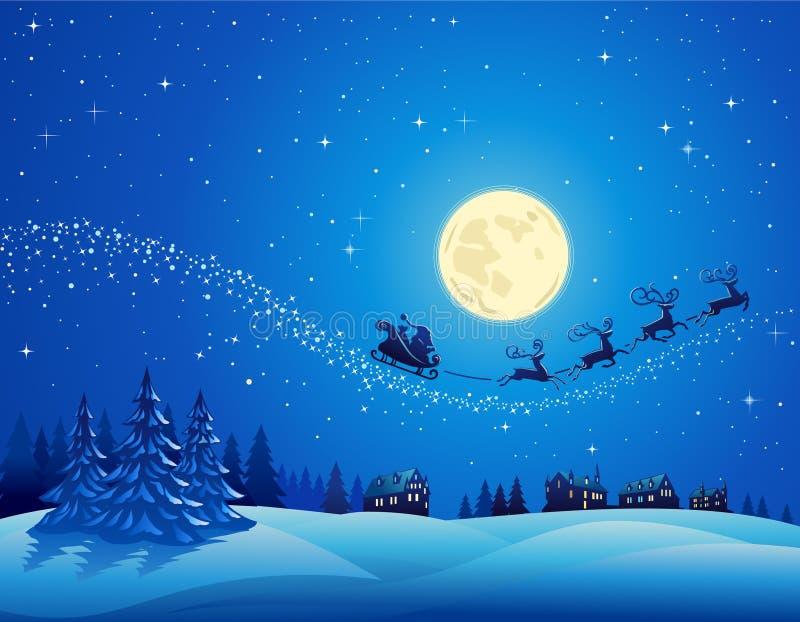 Santa na noite de Natal 2 do inverno ilustração royalty free