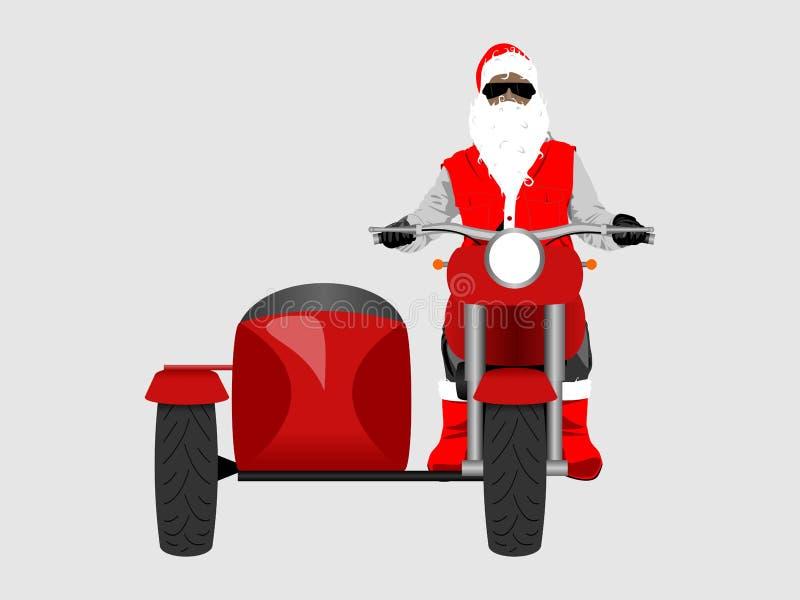 Santa na opinião dianteira da motocicleta clássica do side-car isolou a cor VE ilustração royalty free