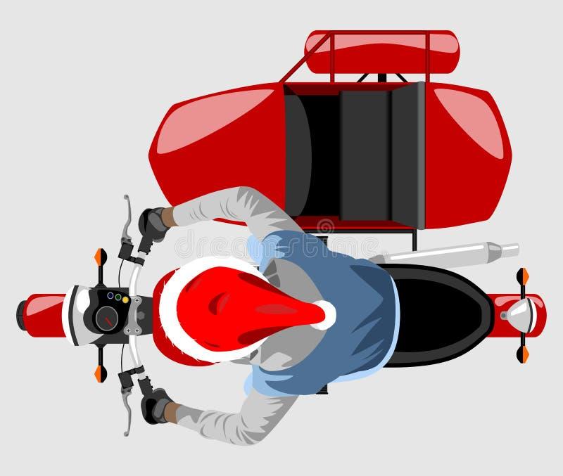 Santa na opinião superior da motocicleta clássica do side-car isolou o vect da cor ilustração do vetor