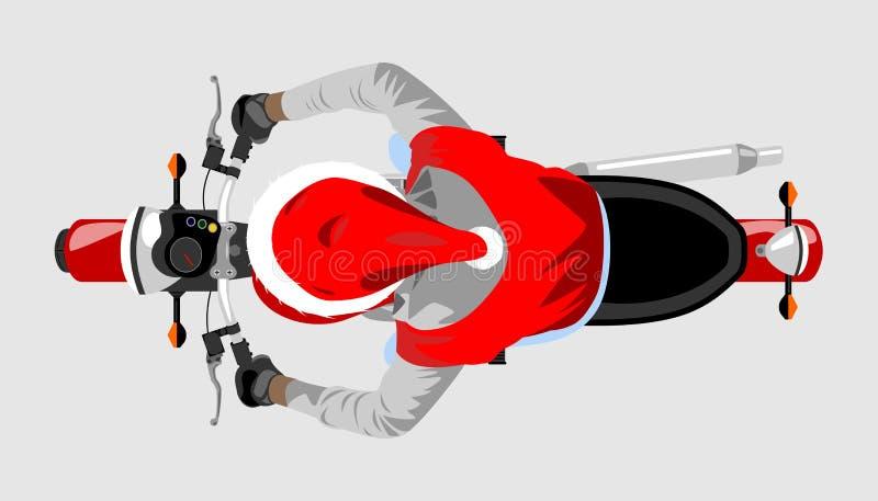 Santa na opinião superior da motocicleta clássica isolou o illus do vetor da cor ilustração royalty free