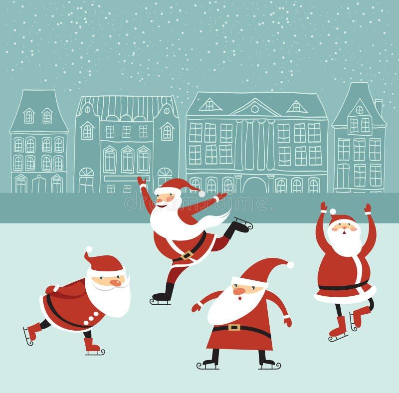 Santa na pista de gelo ilustração do vetor