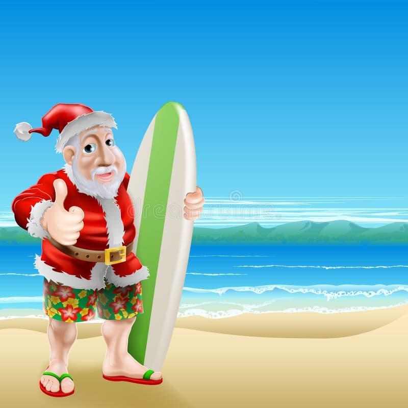 Santa na plaży ilustracji