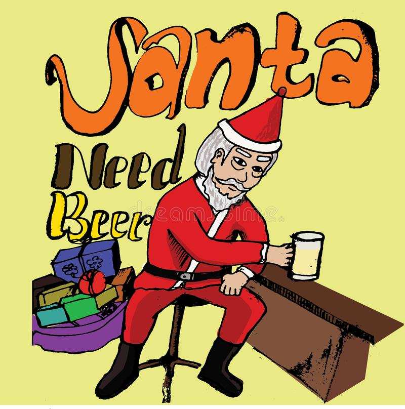 Santa Need Beer stockfotos
