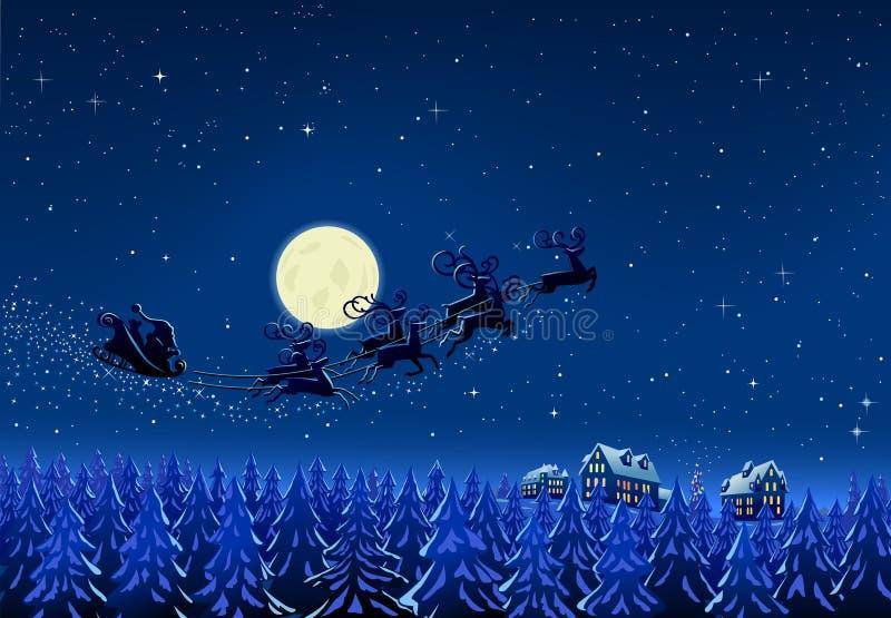 Santa nella notte di natale di inverno illustrazione vettoriale