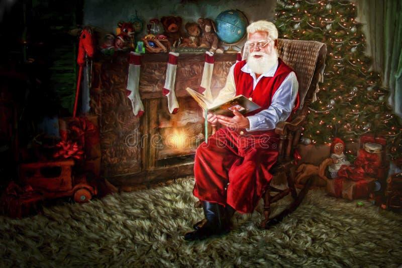 Santa nella sedia di oscillazione con il libro fotografie stock libere da diritti