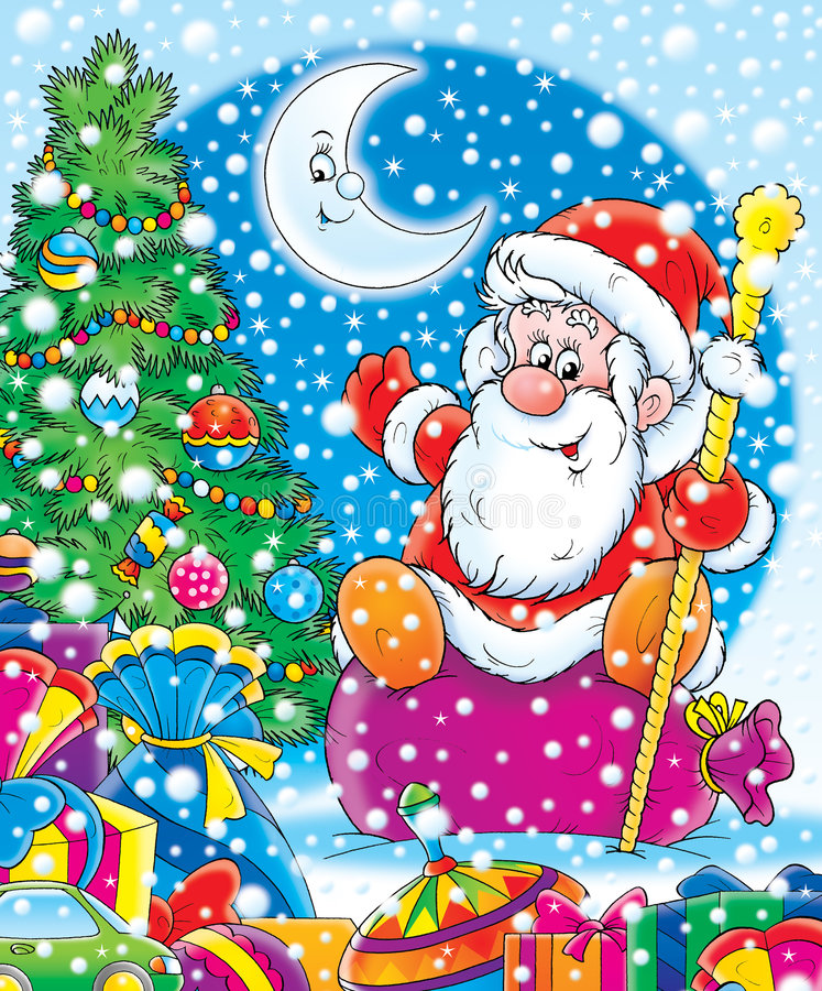 Santa with New Year's gifts. Illustration for children. New Year. Christmas. Santa with New Year's gifts