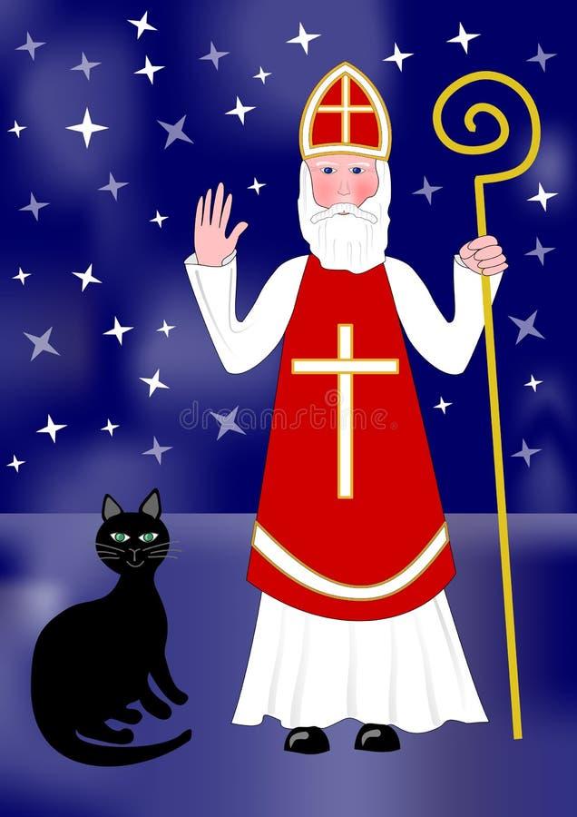 Santa Nicolas y gato negro en fondo de la noche con las estrellas ilustración del vector