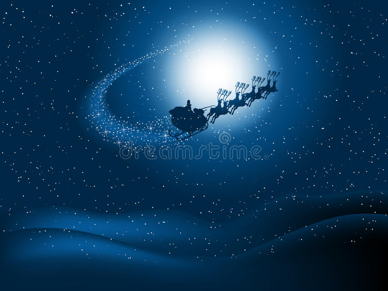 Santa in the night sky. Silhouette of santa flying through the snowy night sky with starry trail