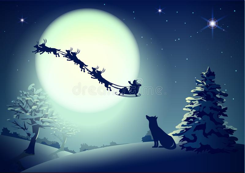 Santa in night sky against background of full moon. Dog silhouette looks up at sky. Christmas greeting card template. Vector cartoon illustration vector illustration