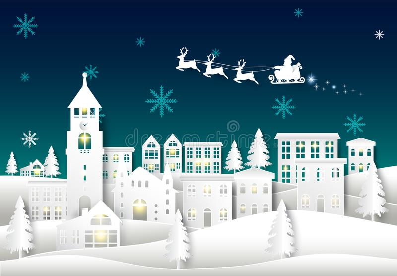 Santa on night sky in city town paper art Winter background. Christmas season paper cut style illustration royalty free illustration