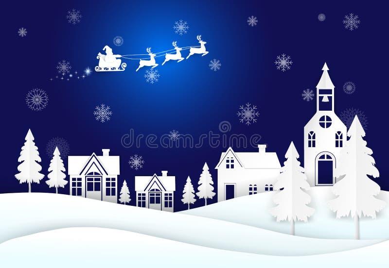 Santa no céu noturno e no floco de neve, estação do Natal ilustração royalty free