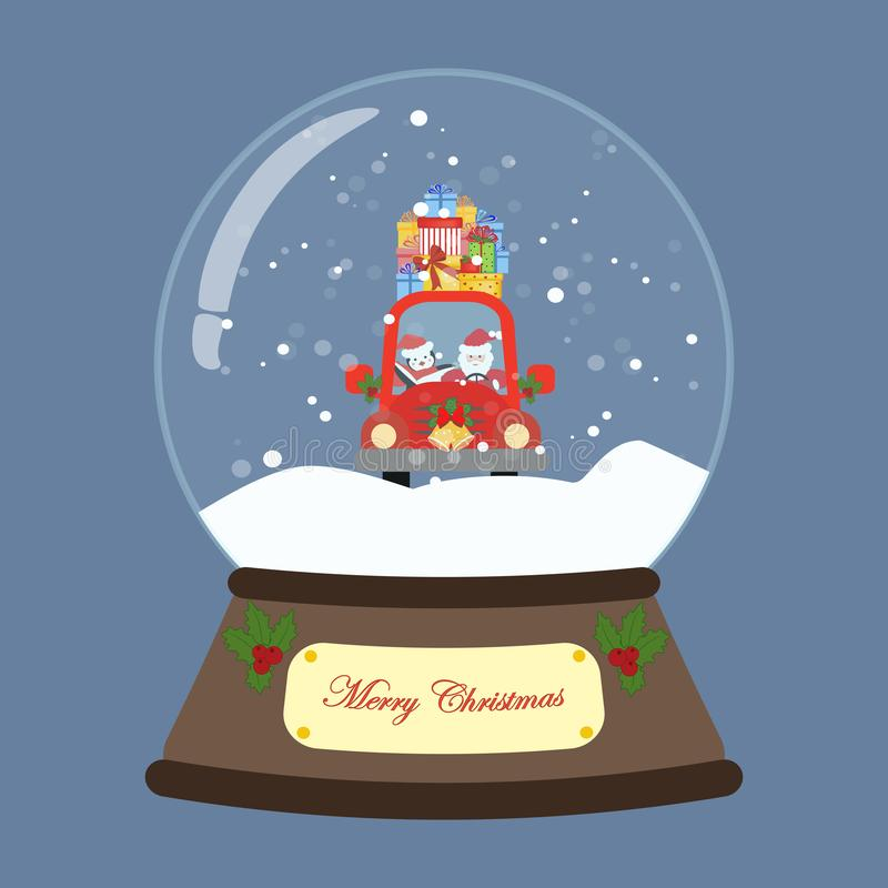 Santa no carro vermelho no globo da neve ilustração stock