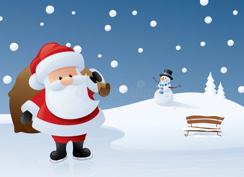 Santa no gelo ilustração royalty free