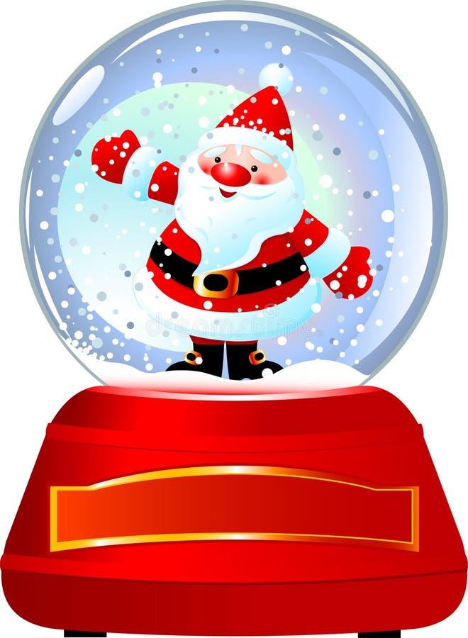 Santa no globo da neve ilustração do vetor