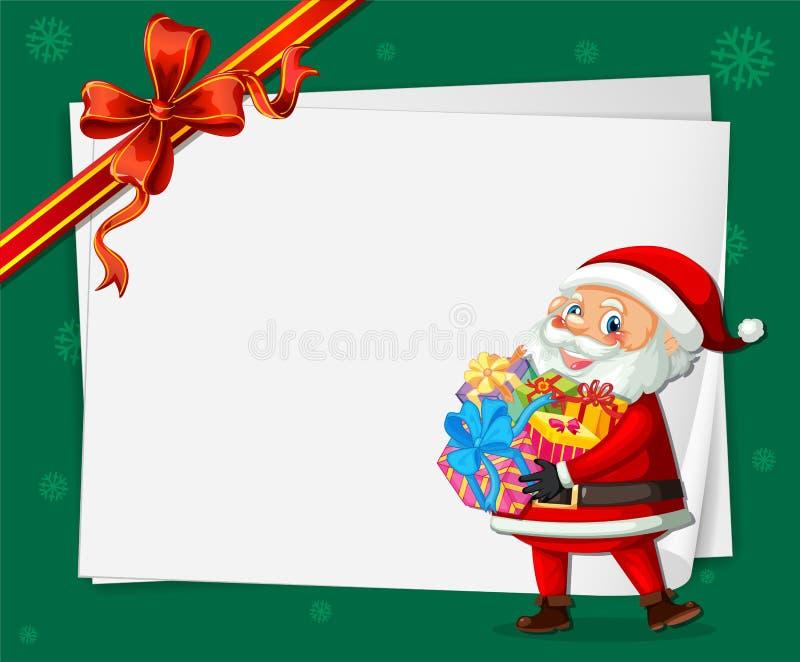 Santa no molde do cartão de Natal ilustração do vetor