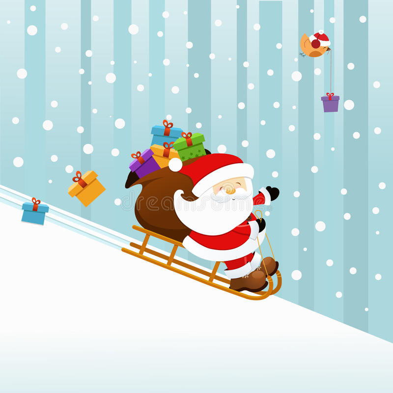 Santa no Sledge ilustração royalty free