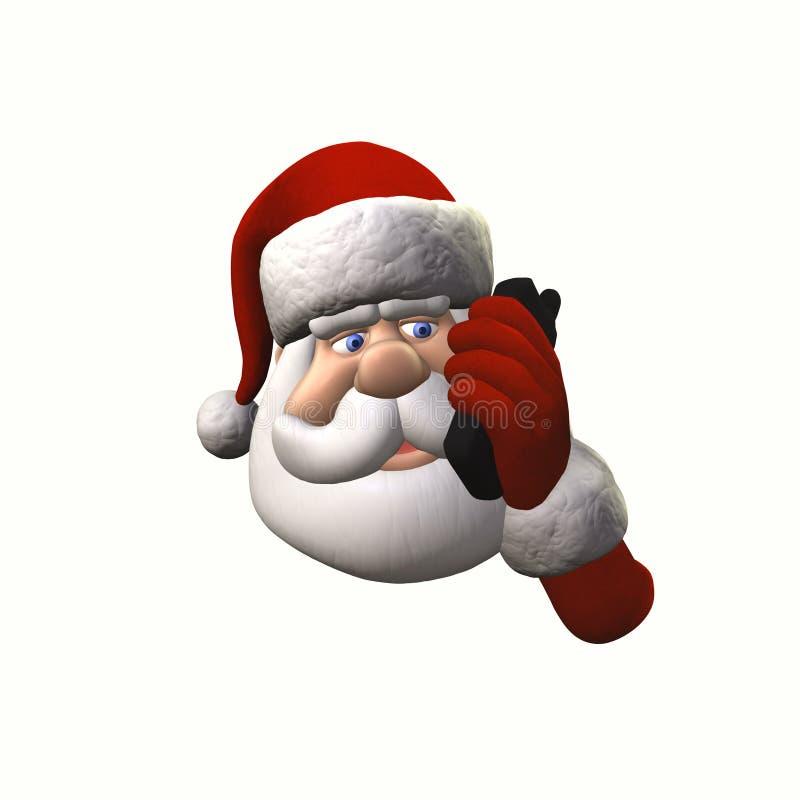 Santa no telefone de pilha - isolado ilustração stock