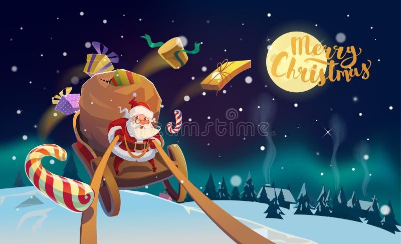 Santa no trenó com mensagem do Feliz Natal ilustração do vetor