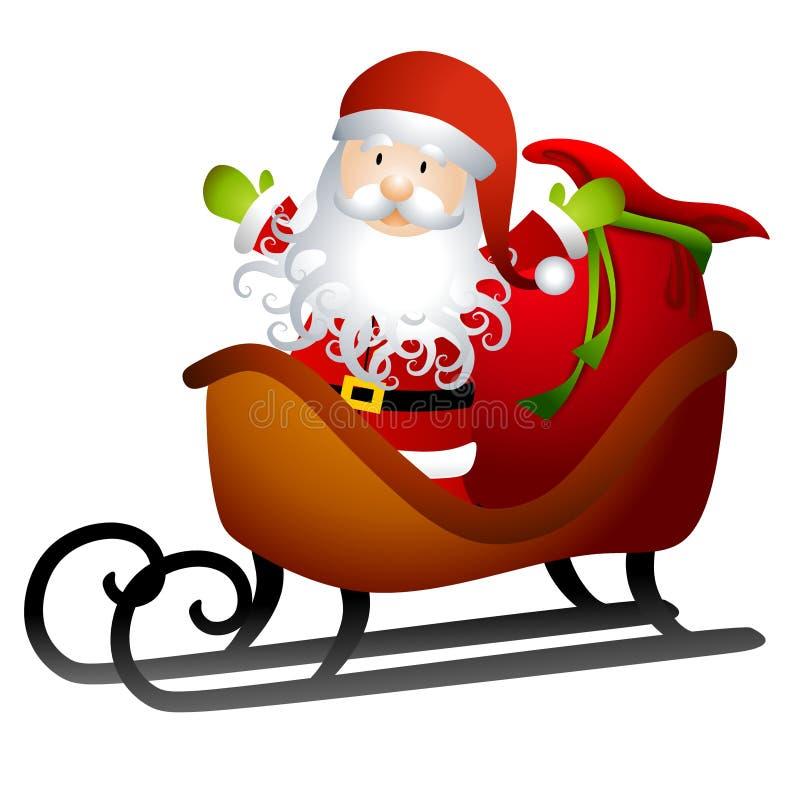 Santa no trenó dos brinquedos ilustração royalty free