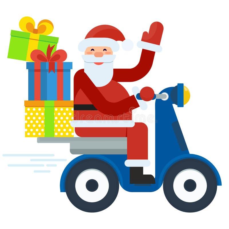 Santa no 'trotinette' ilustração stock