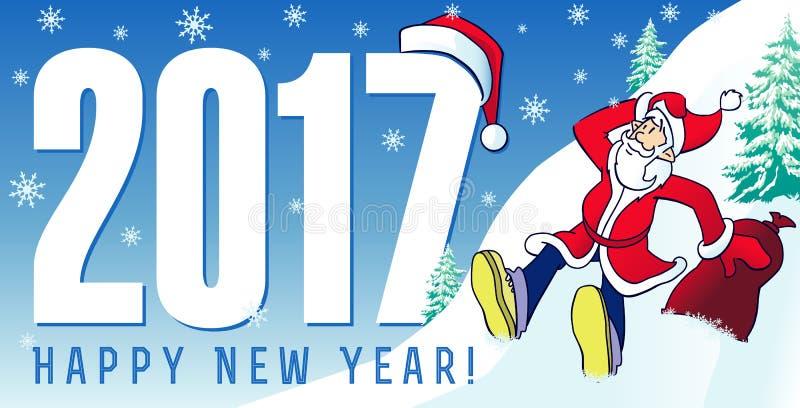 Santa nowy rok grępluje 2017 royalty ilustracja