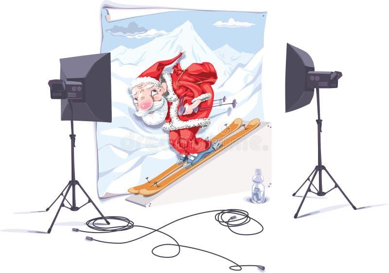 Santa o esquiador ilustração do vetor
