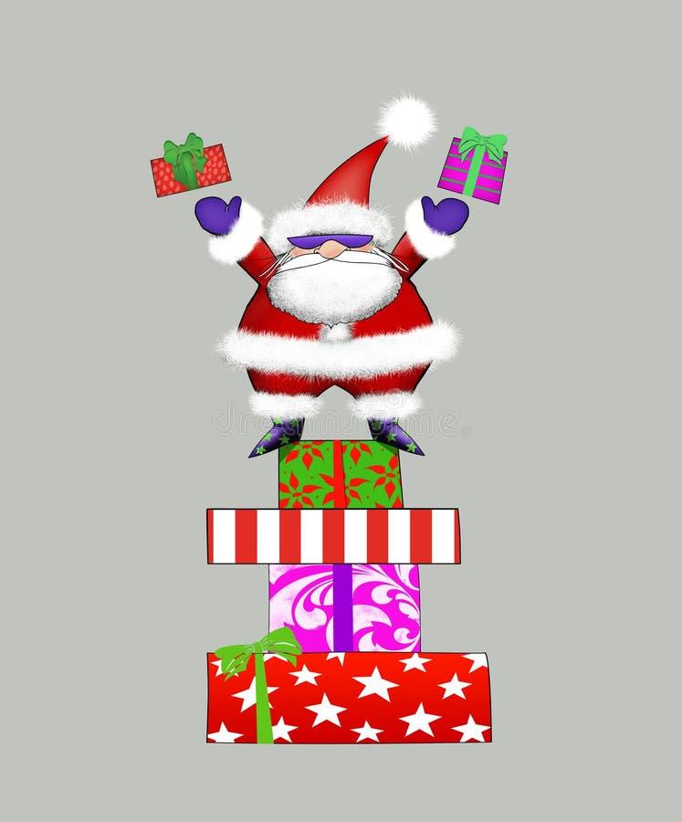 Santa in occhiali da sole che lancia i regali illustrazione di stock