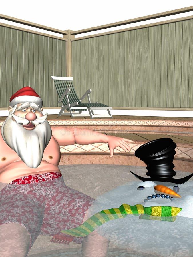Santa och frostiga varma badar royaltyfri illustrationer