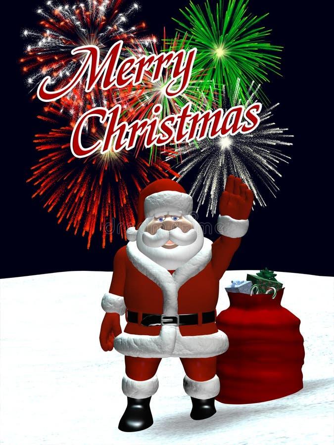 Santa ondulant avec des feux d'artifice de Noël illustration libre de droits