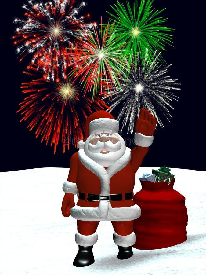 Santa ondulant avec des feux d'artifice de Noël illustration de vecteur
