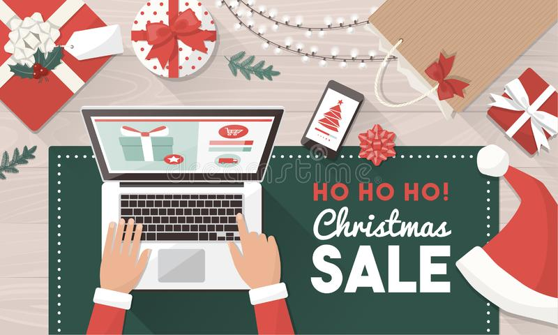 Santa ordering Christmas gifts online royalty free illustration