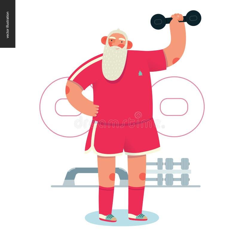 Santa ostentando - levantamento do peso ilustração stock