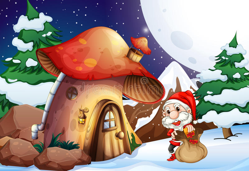 Santa outside the mushroom house. In a snowy area royalty free illustration