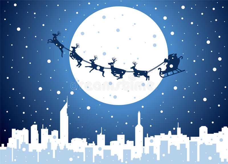 Santa over city royalty free stock image