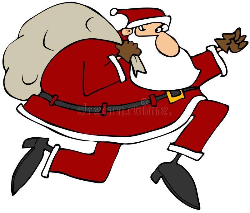 Santa på körningen stock illustrationer
