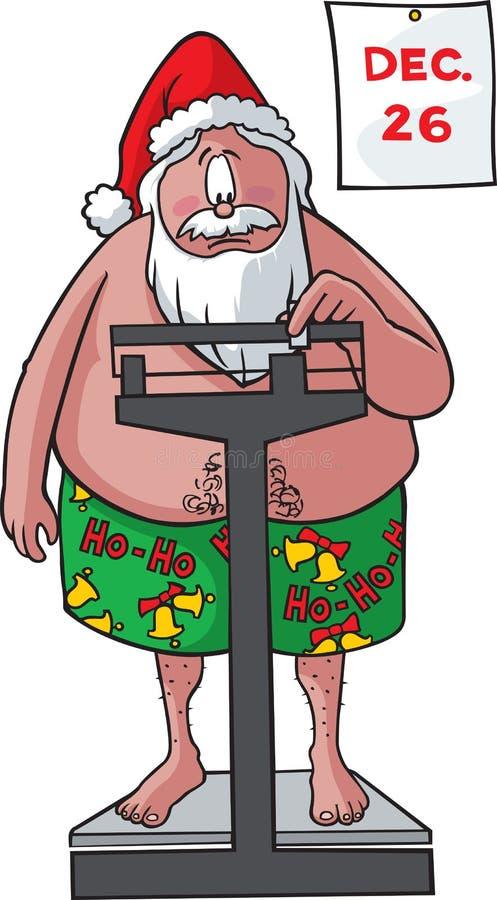 Santa pèse dedans illustration libre de droits