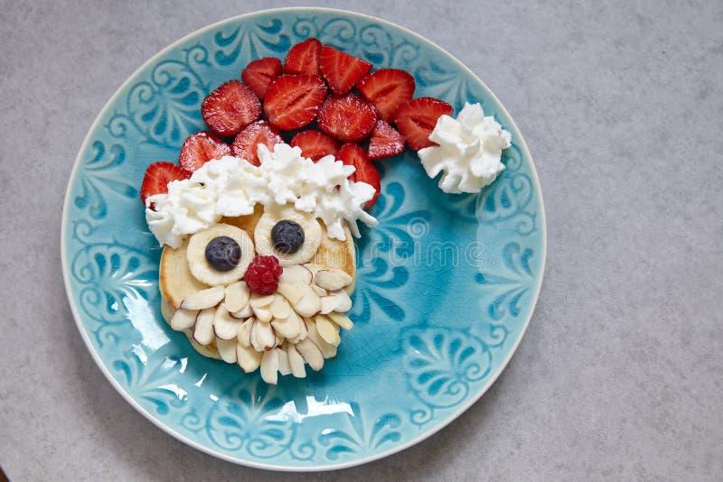 Santa pancake for kid breakfast stock photos