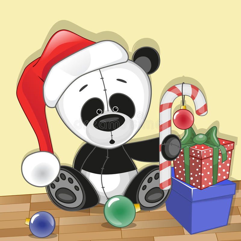 Santa panda ilustracja wektor