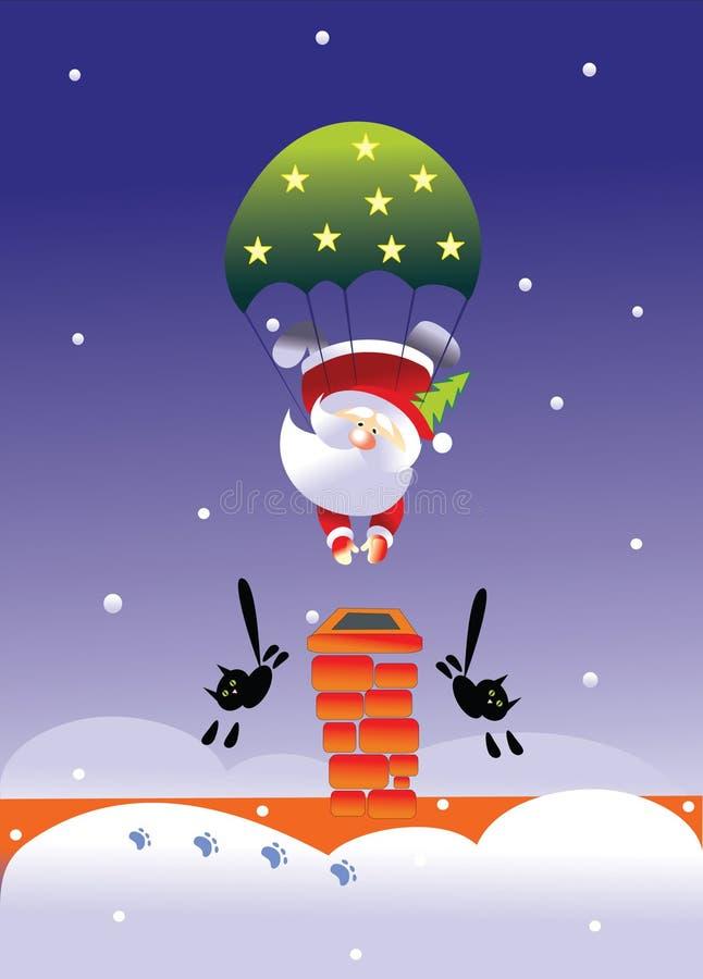Santa and parachute royalty free stock images