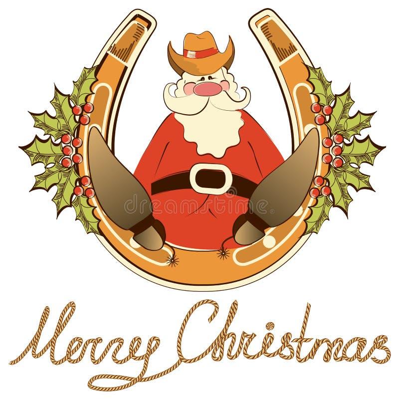 Santa in pattini del cowboy si siede sul ferro di cavallo fortunato. illustrazione di stock