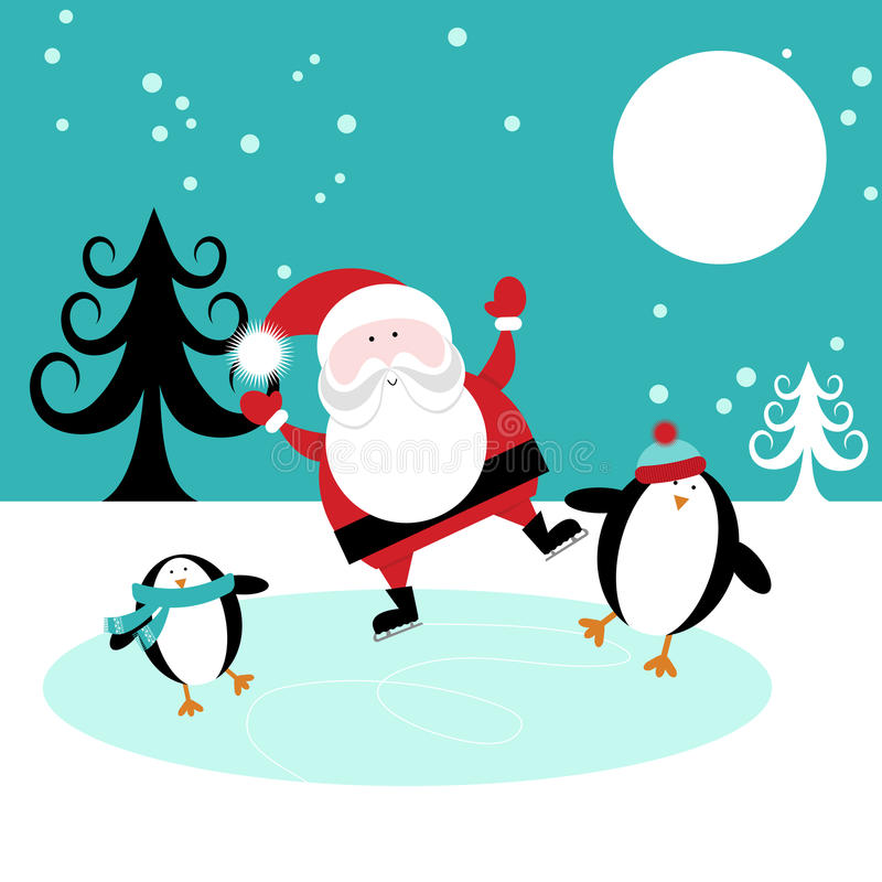 Download Santa and Penguins skating stock vector. Illustration of celebration - 27490668